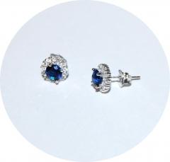 Сережки с синим камнем серебро 925