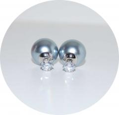 Серьги Dior с камнем серебристые 925