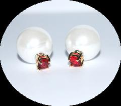 Серьги Dior жемчуг и красный камушек