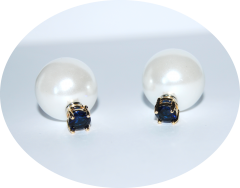 Серьги Dior жемчуг и синий камушек