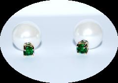 Серьги Dior жемчуг и зеленый камушек