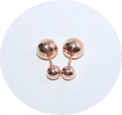 Пусеты шарики из серебра с позолотой