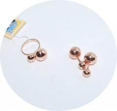 Комплект пусеты и кольцо из серебра с позолотой