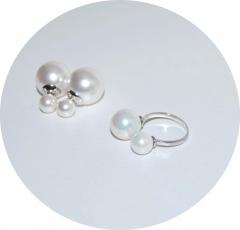 Комплект серьги и кольцо жемчужный