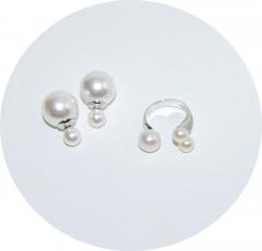 Комплект серьги и кольцо жемчужный 2