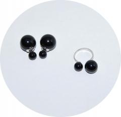 Комплект серьги и кольцо черный
