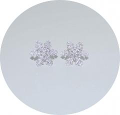 Серьги гвоздики Снежинки 925