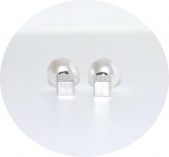 Серьги Dior кубик со стразами жемчужные
