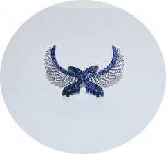 Кольцо серебряное Крылья синее