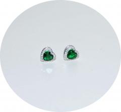 Серьги Сердечки с зеленым камнем