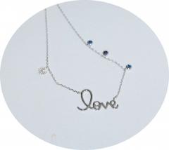 Кулон Love с синими камнями