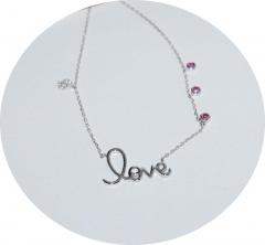 Кулон Love с розовыми камнями