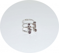 Серебряное кольцо на фалангу с камнями
