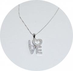 Кулон серебряный Love 925
