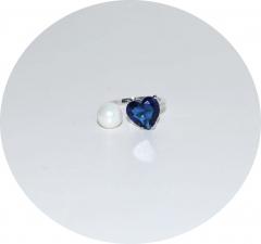 Колечко в стиле KO синее сердце и жемчуг