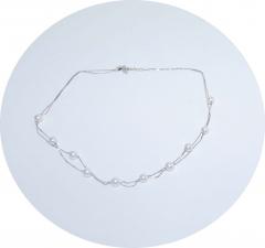 Серебряная цепочка с жемчугом двойная