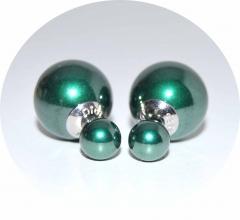 Серьги Mise En Dior зеленый перламутр 925