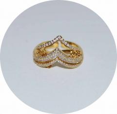 Кольцо на две фаланги золотое