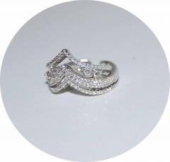 Кольцо на две фаланги серебряное