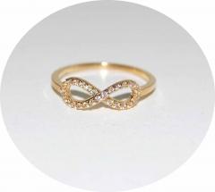 Кольцо Бесконечность на фалангу золотое