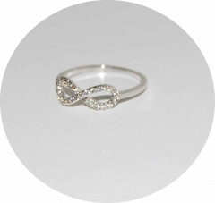 Кольцо Бесконечность на фалангу серебряное