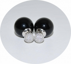 Серьги Mise En Dior черные со стразами 925
