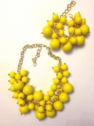 Набор Колье из бусин и браслет желтый