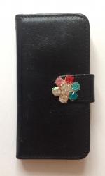 Чехол книжка Цветок для iPhone 5 черный