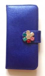 Чехол книжка Цветок для iPhone 5 синий