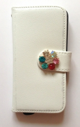 Чехол книжка Цветок для iPhone 5 белый