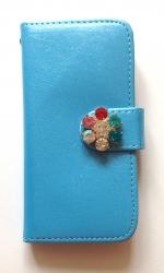 Чехол книжка Цветок для iPhone 5 голубой