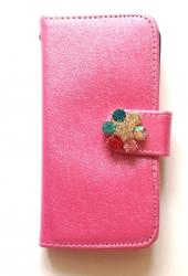 Чехол книжка Цветок для iPhone 5 розовый