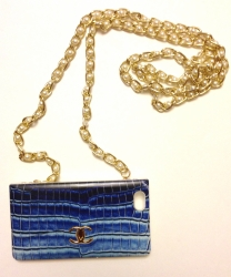 Чехол сумочка Chanel для iPhone 5 синий