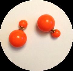 Серьги Диор шарики кислотный оранжевый