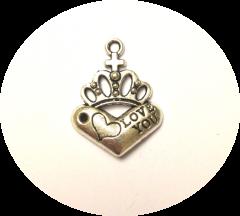 Шарм подвеска Сердце с короной