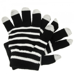 Перчатки для iPhone 5 черные в полосочку