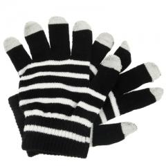 Перчатки для iPhone 4S черные в полосочку