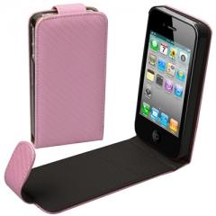 Чехол - книжка Карбон для iPhone 4S розовый