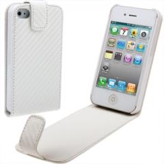 Чехол - книжка Карбон для iPhone 4 белый