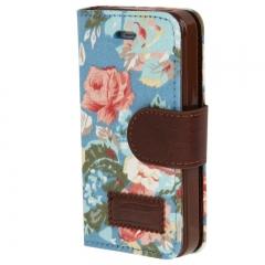 Чехол книжка Цветочки для iPhone 4S синий