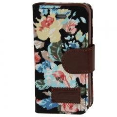 Чехол книжка Цветочки для iPhone 4S черный