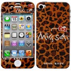 Пленка Hello Kitty для iPhone 4 леопардовая