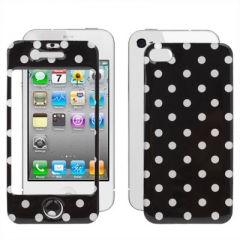 Защитная пленка в горошек для iPhone 4S черная