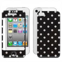 Защитная пленка в горошек для iPhone 4 черная