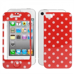 Защитная пленка в горошек для iPhone 4s красная