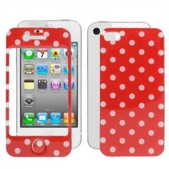 Защитная пленка в горошек для iPhone 4 красная