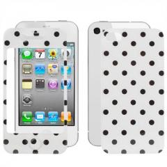 Защитная пленка в горошек для iPhone 4 белая