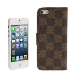 Чехол книжка для iPhone 5 в клеточку коричневый