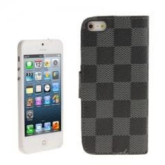 Чехол книжка для iPhone 5 в клеточку серый