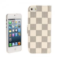 Чехол книжка для iPhone 5 в клеточку белый
